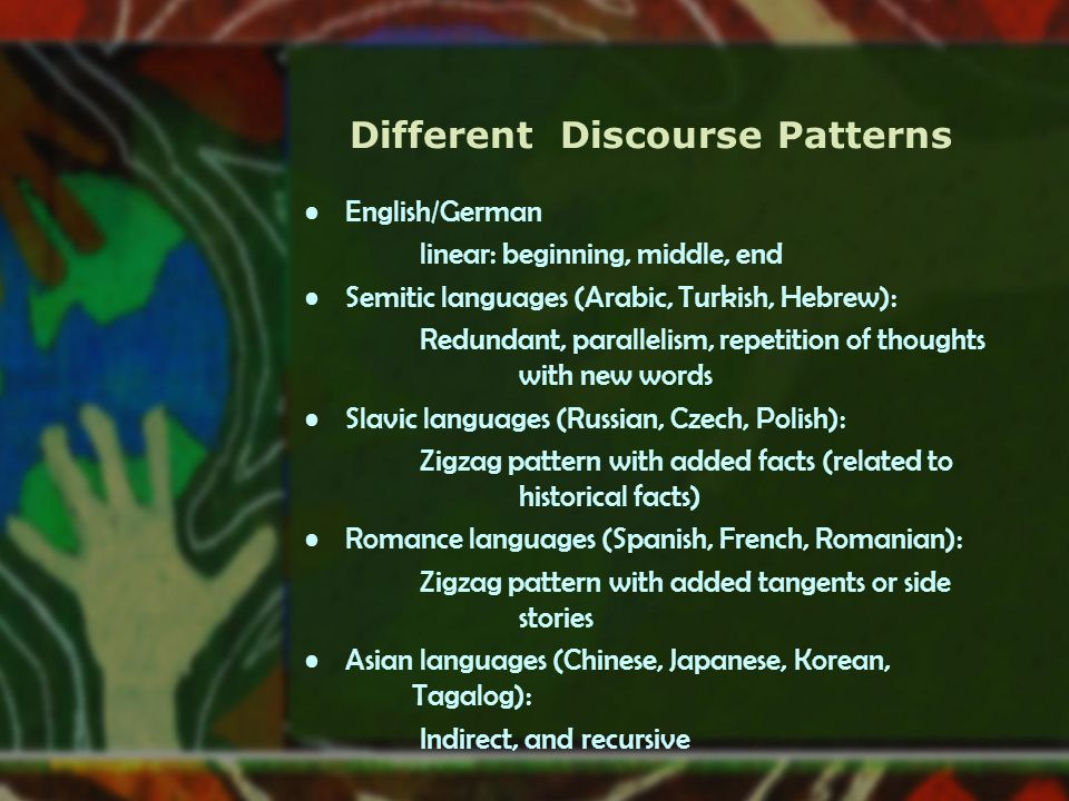 Different Discourse Patterns