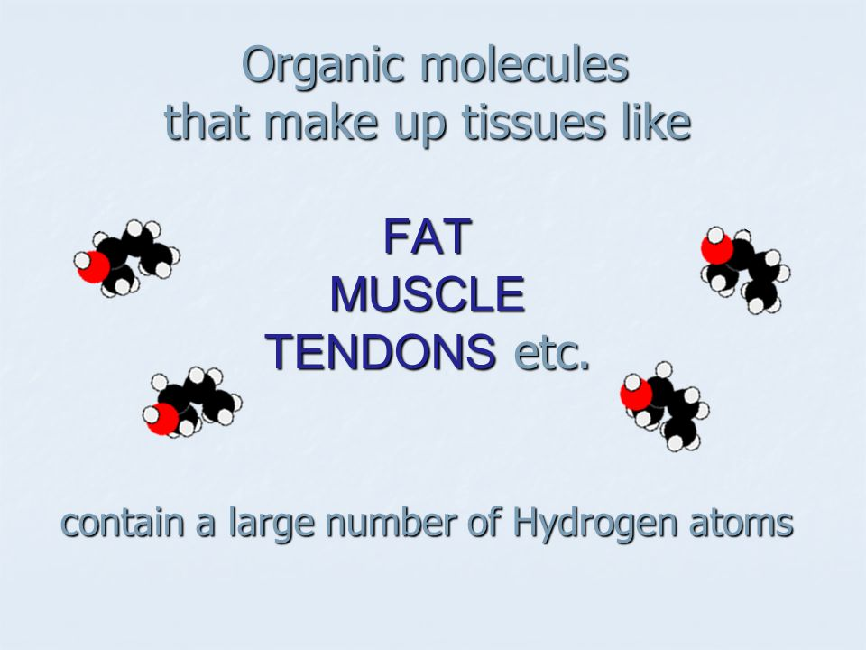 Organic molecules that make up tissues like FAT MUSCLE TENDONS etc.