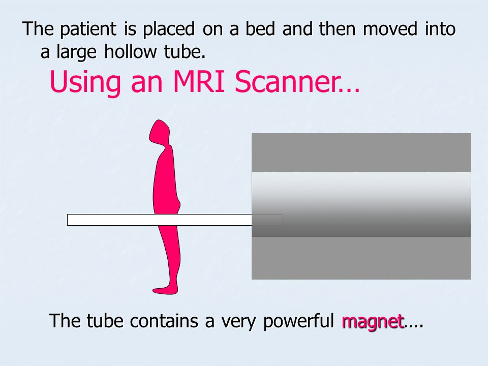 The patient is placed on a bed and then moved into a large hollow tube.