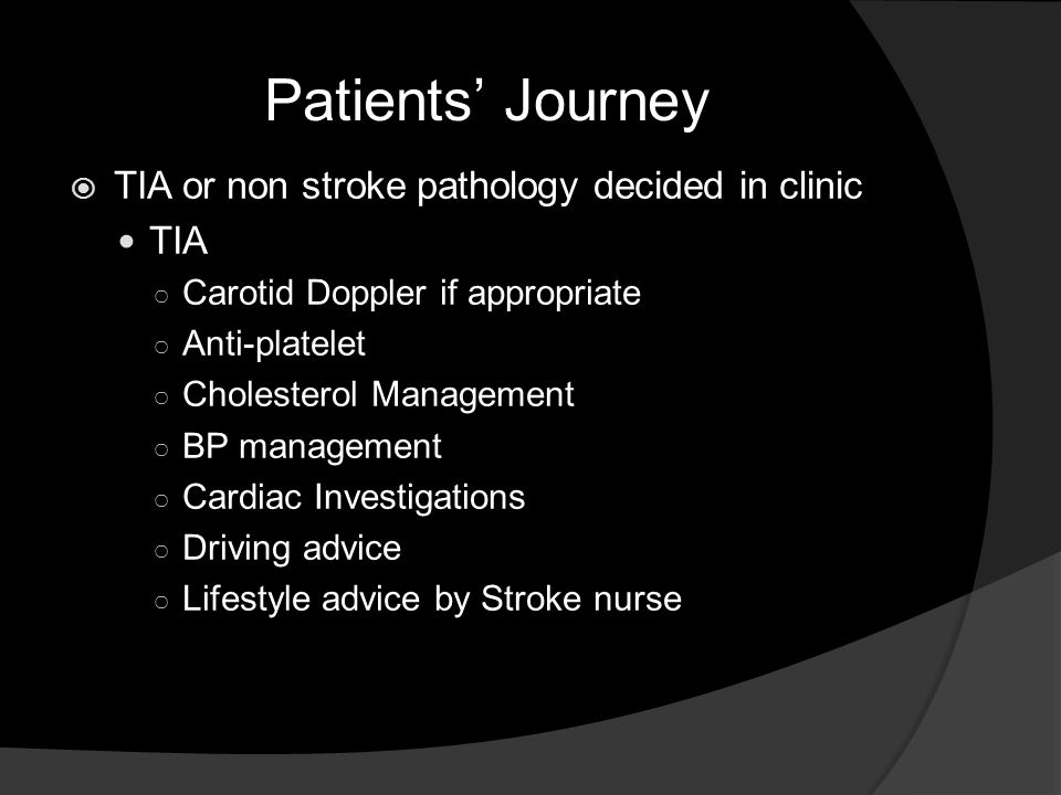 Patients' Journey TIA or non stroke pathology decided in clinic TIA