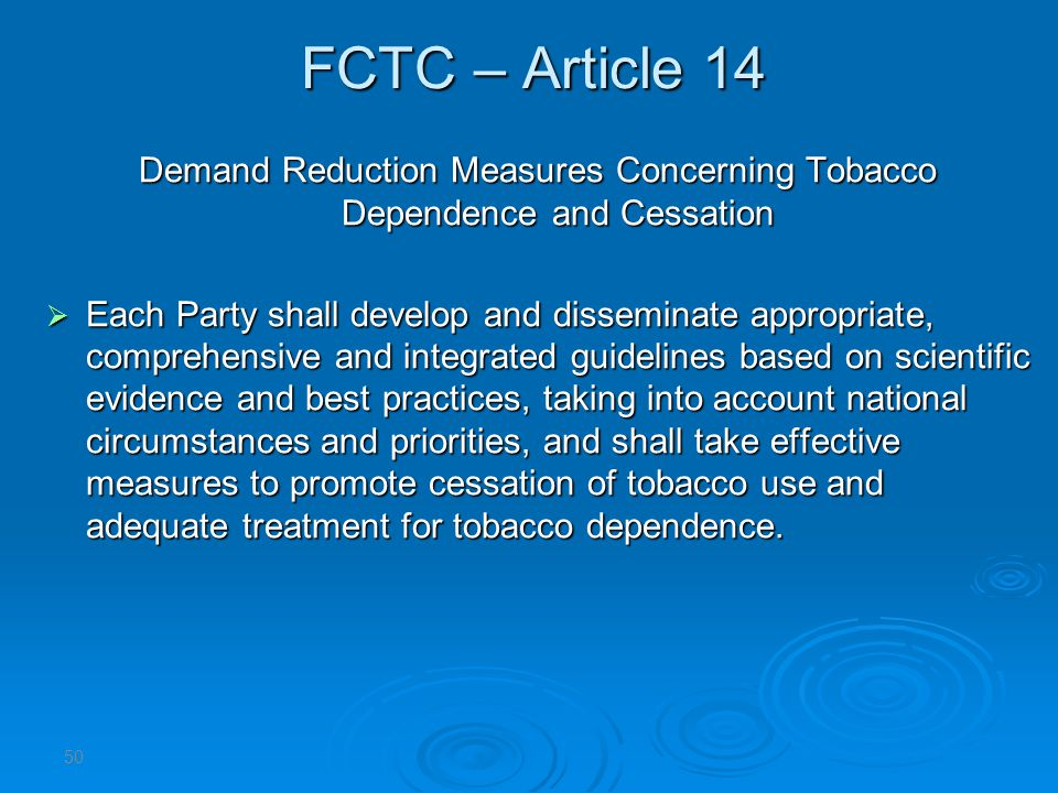 Demand Reduction Measures Concerning Tobacco Dependence and Cessation