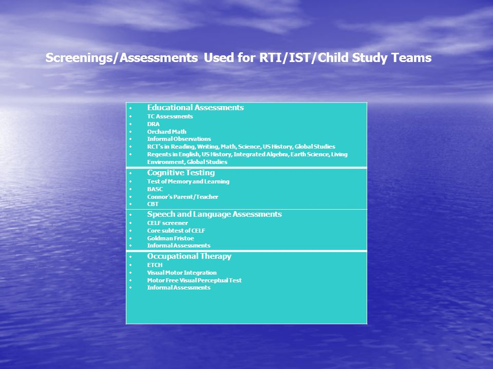 Screenings/Assessments Used for RTI/IST/Child Study Teams