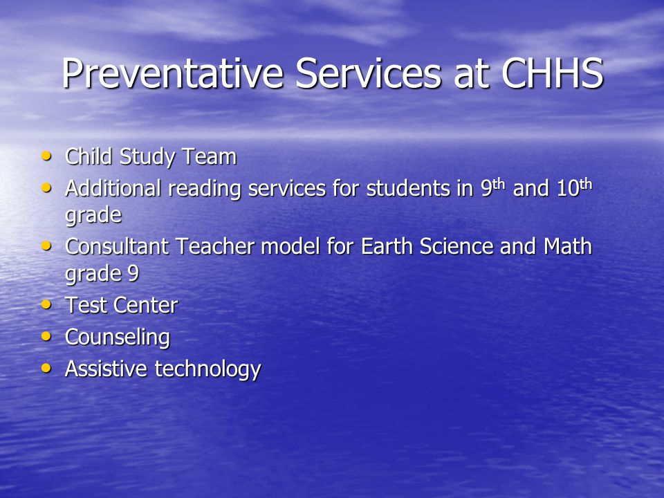 Preventative Services at CHHS