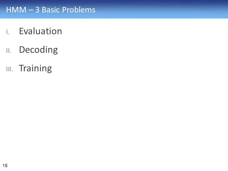 HMM – 3 Basic Problems Evaluation Decoding Training