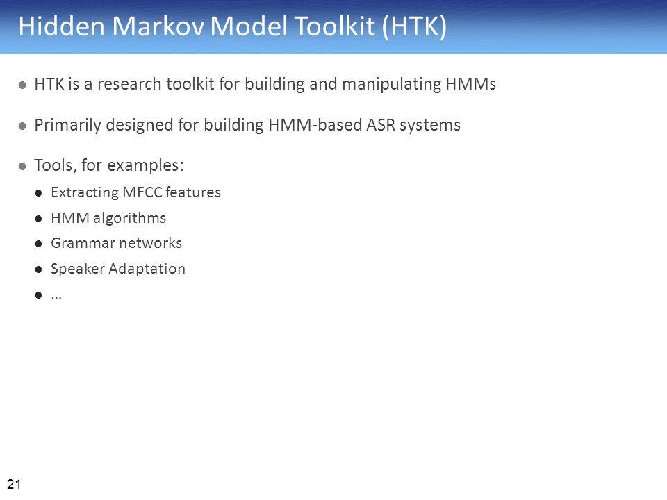 Hidden Markov Model Toolkit (HTK)