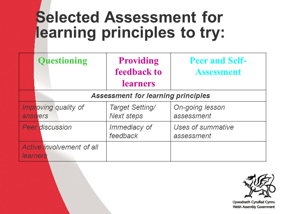 Providing feedback to learners Peer and Self-Assessment