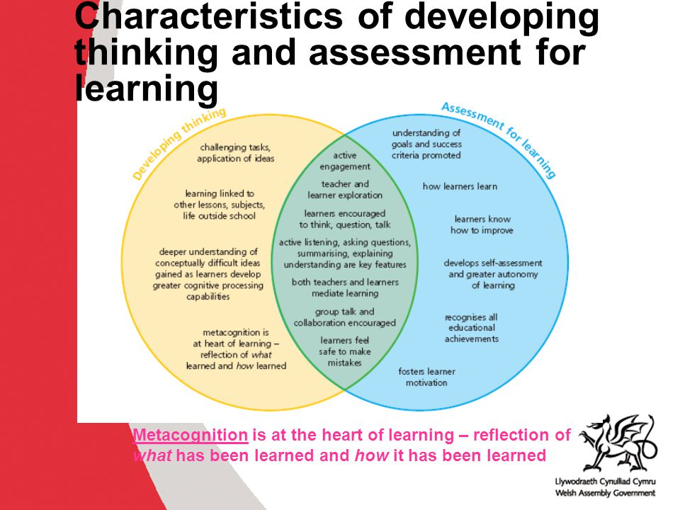 Characteristics of developing thinking and assessment for learning