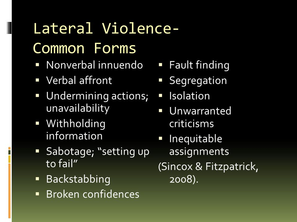 Lateral Violence- Common Forms