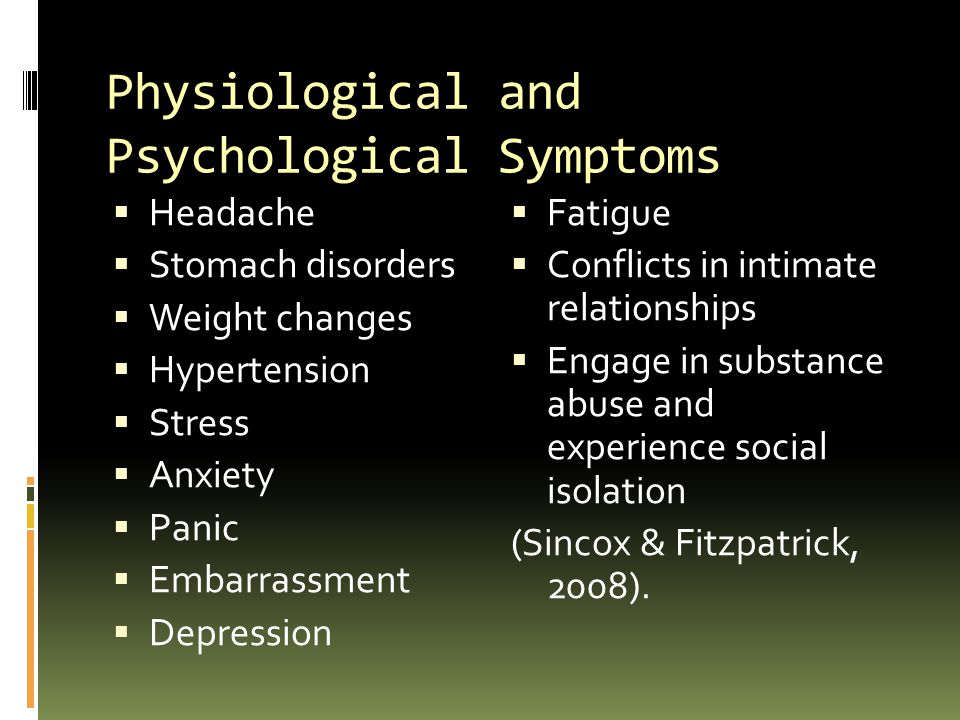 Physiological and Psychological Symptoms