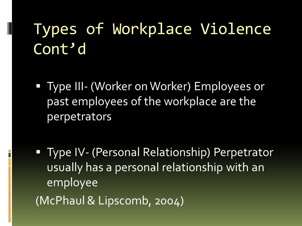 Types of Workplace Violence Cont'd