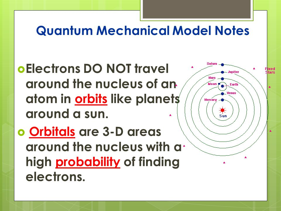 Quantum Mechanical Model Notes