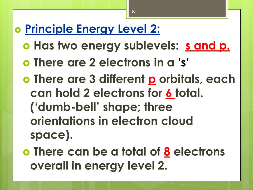 Has two energy sublevels: s and p. There are 2 electrons in a 's'
