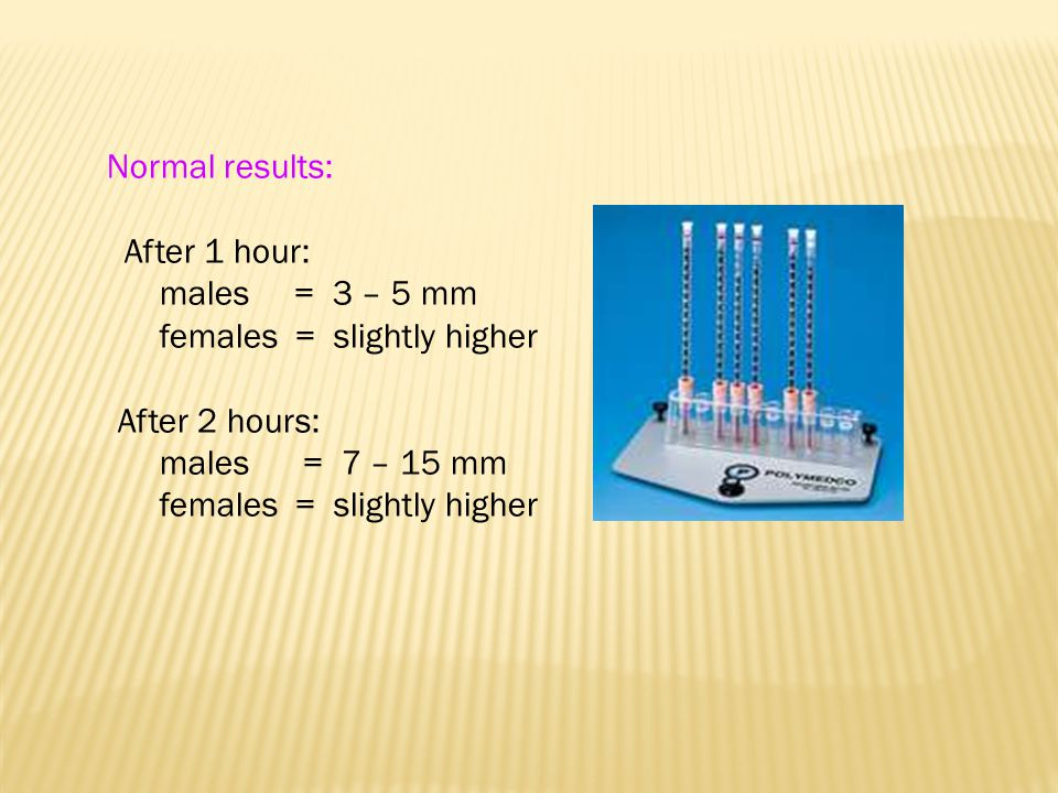 Normal results: After 1 hour: males = 3 – 5 mm females = slightly higher After 2 hours: