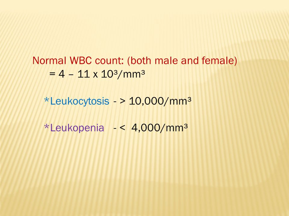 Normal WBC count: (both male and female)