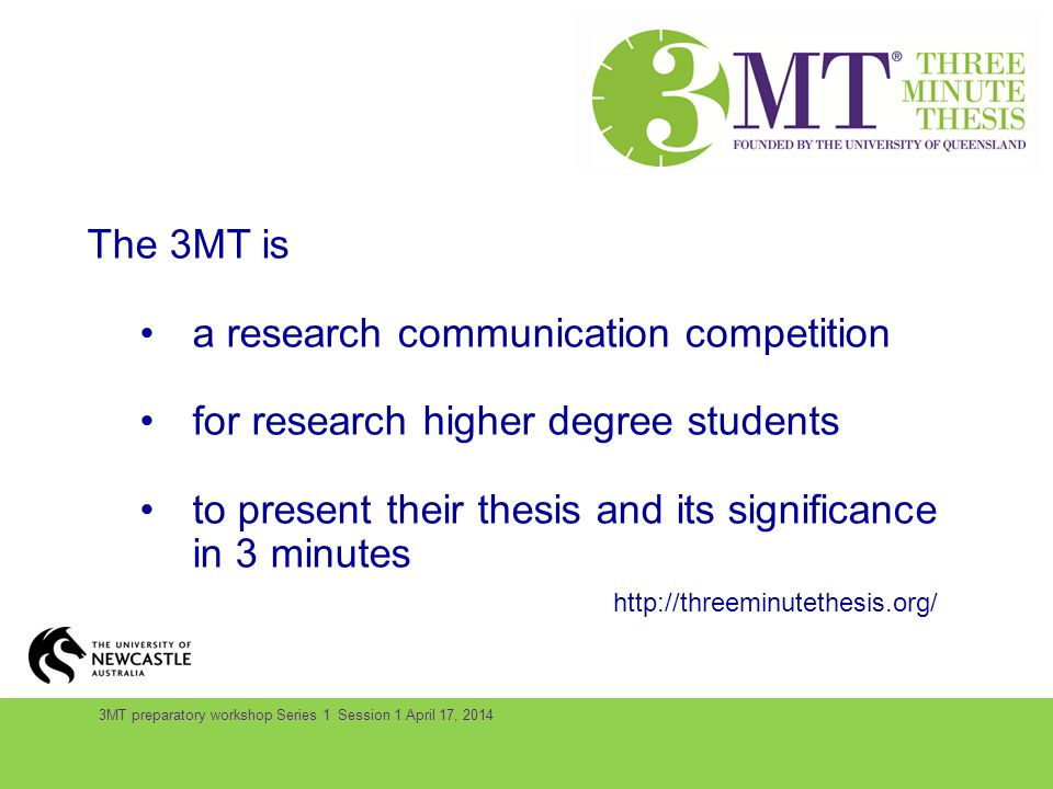 The 3MT is a research communication competition