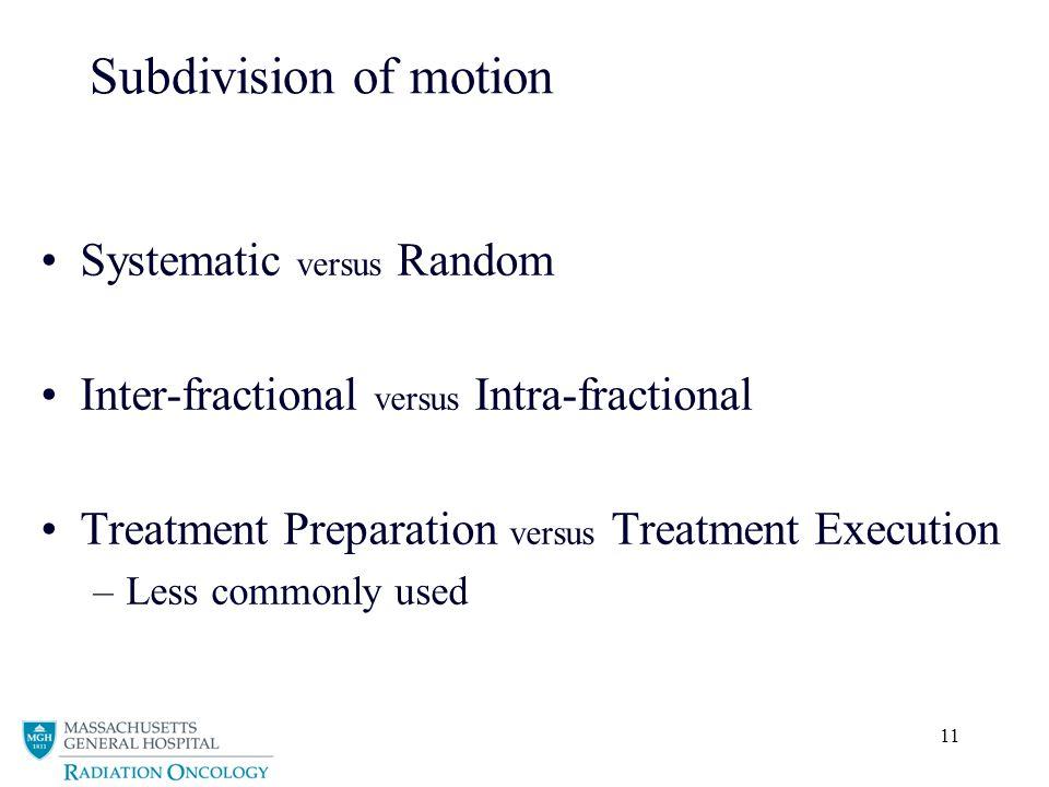 Subdivision of motion Systematic versus Random