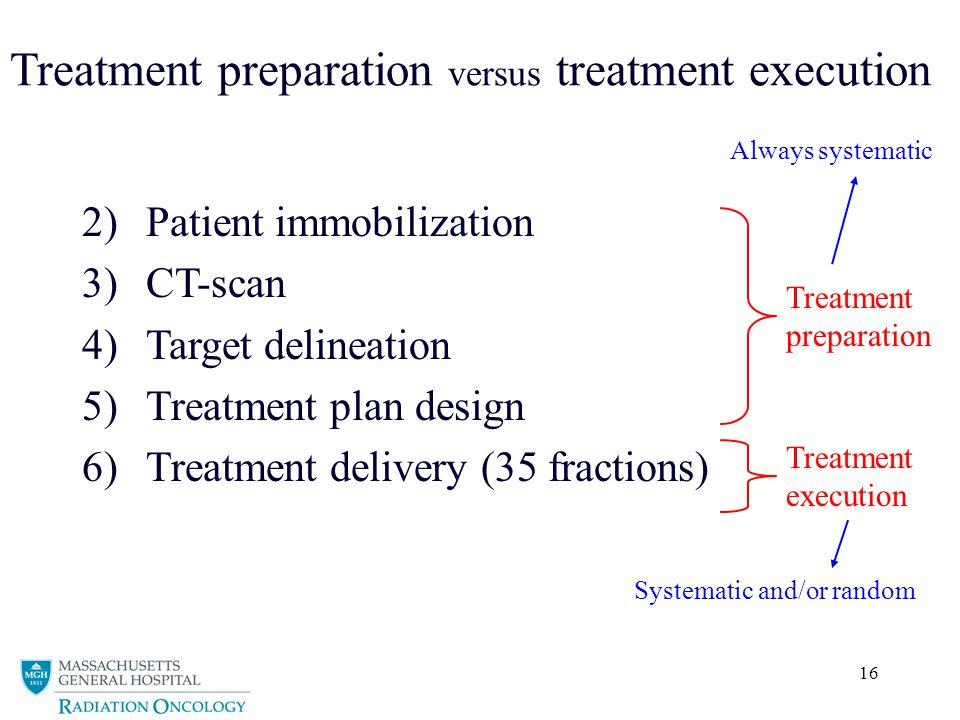 Treatment preparation versus treatment execution