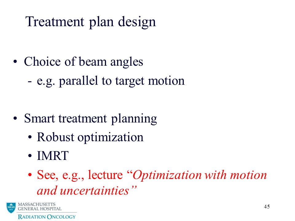 Treatment plan design Choice of beam angles