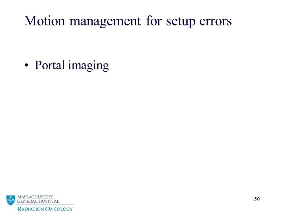 Motion management for setup errors