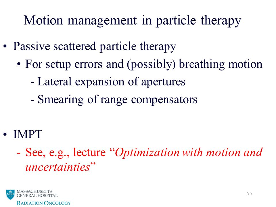 Motion management in particle therapy
