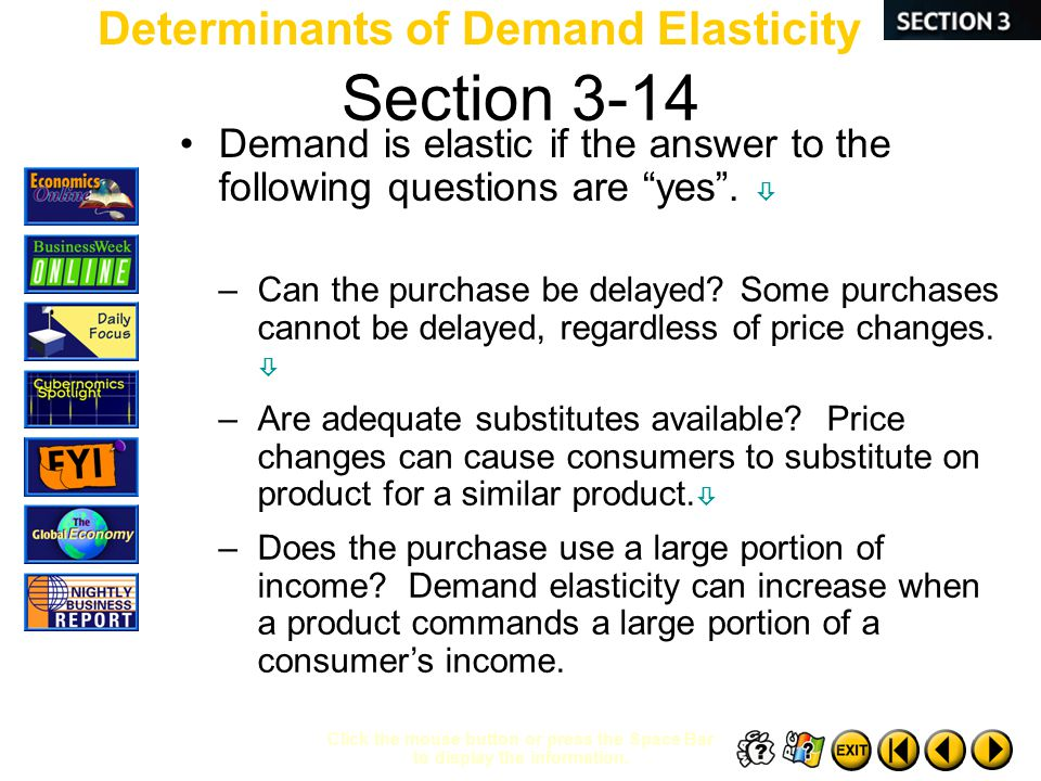 Section 3-14 Determinants of Demand Elasticity