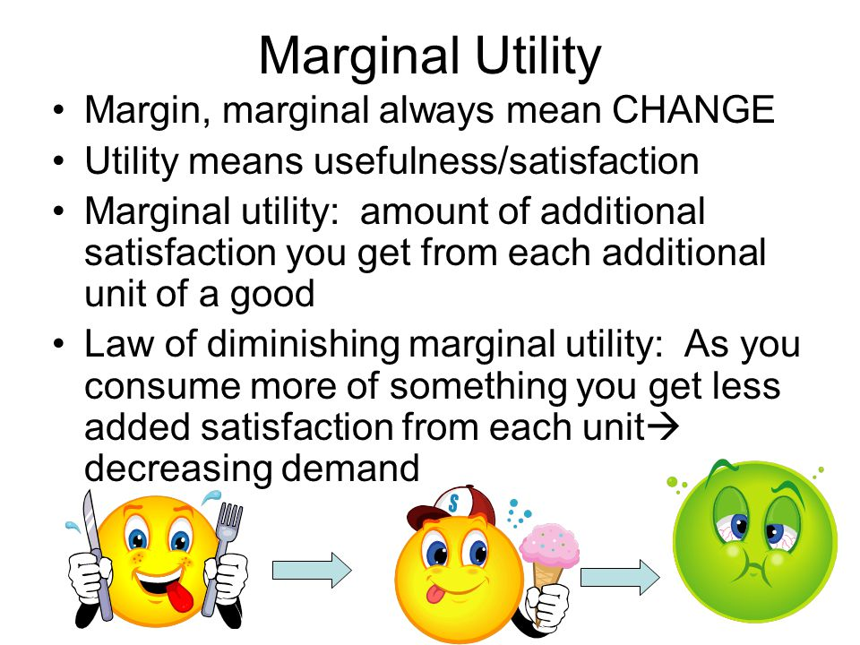 Marginal Utility Margin, marginal always mean CHANGE
