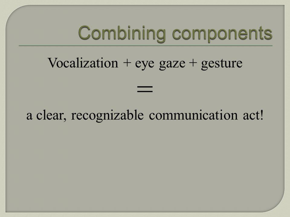 = Combining components Vocalization + eye gaze + gesture