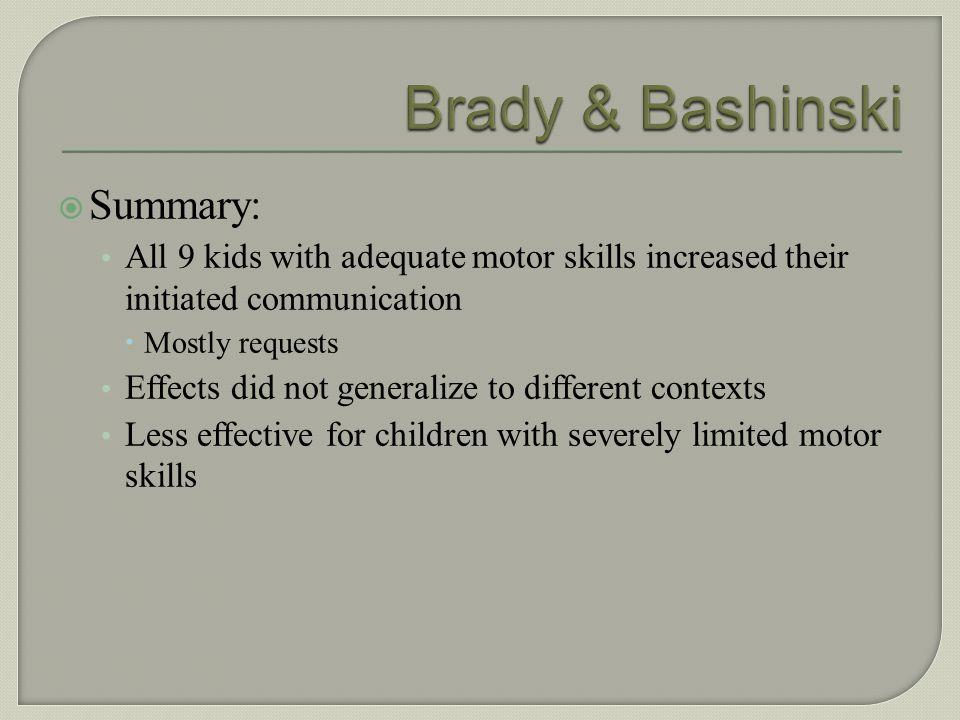 Brady & Bashinski Summary: