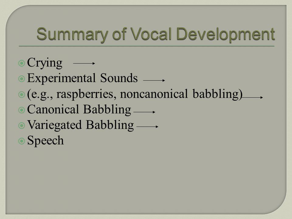 Summary of Vocal Development