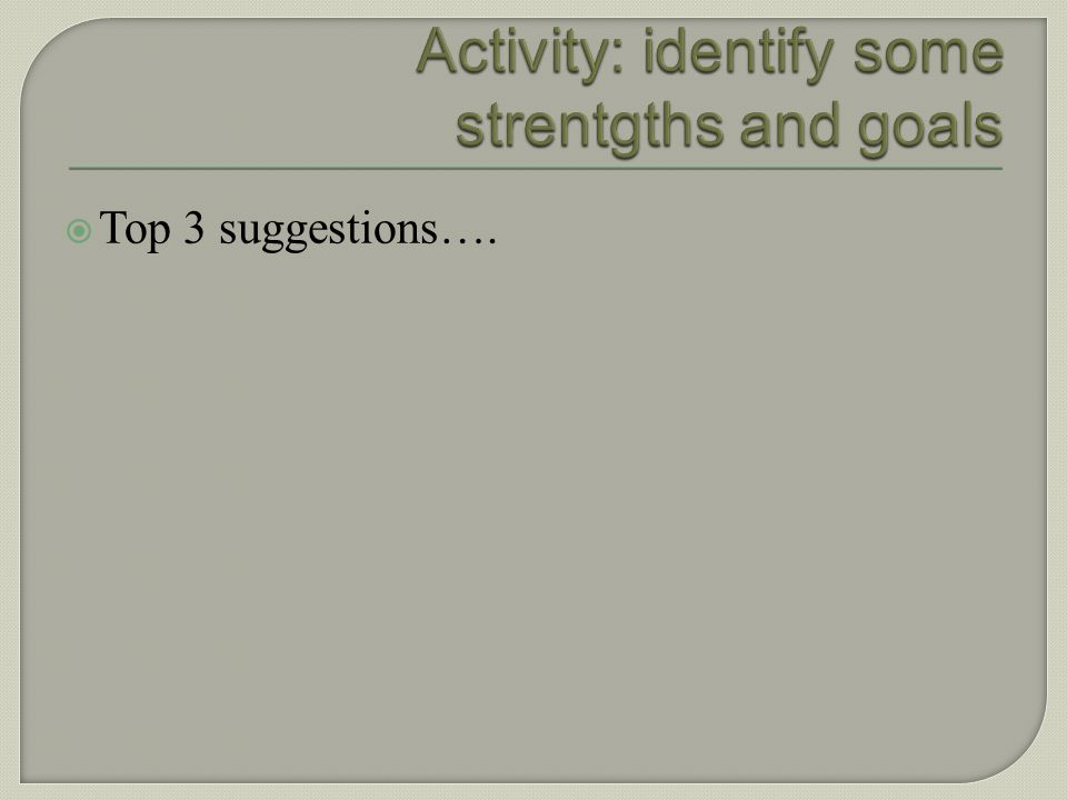 Activity: identify some strentgths and goals