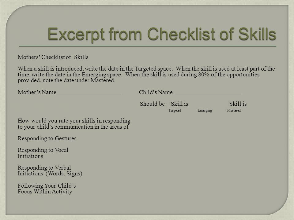 Excerpt from Checklist of Skills