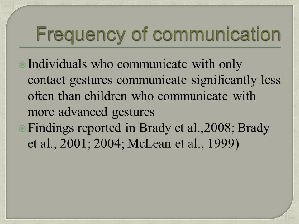 Frequency of communication