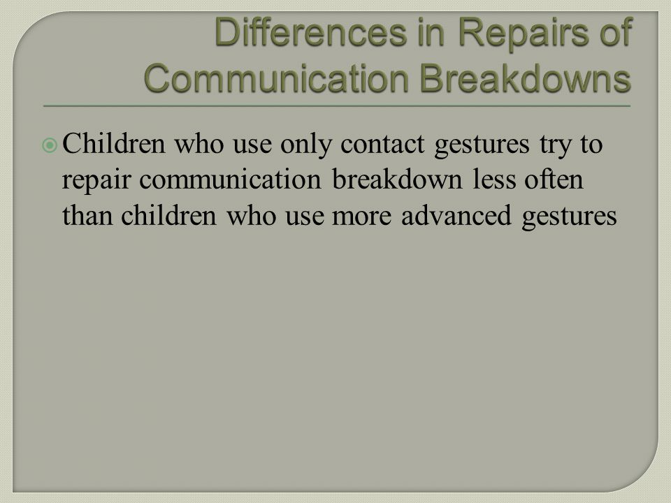 Differences in Repairs of Communication Breakdowns