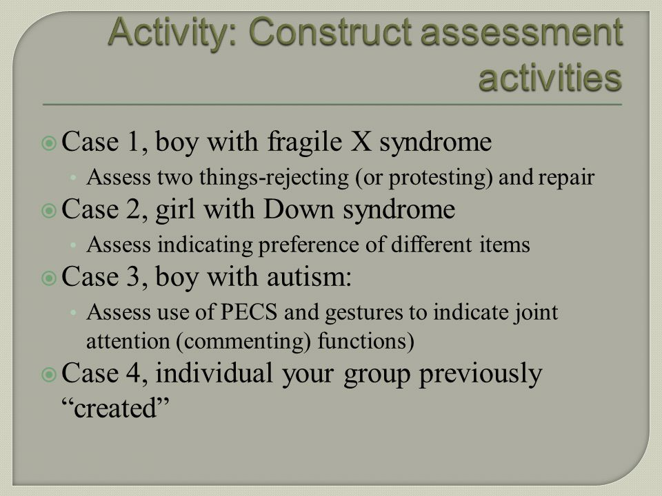 Activity: Construct assessment activities