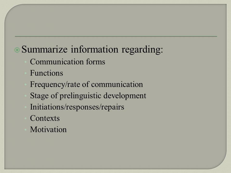 Summarize information regarding: