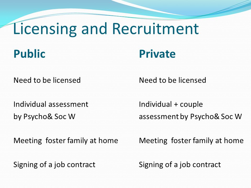Licensing and Recruitment