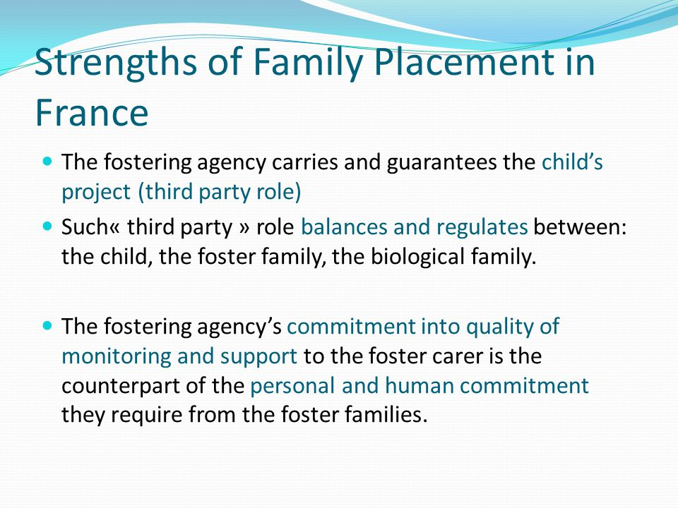 Strengths of Family Placement in France