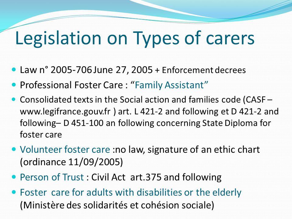 Legislation on Types of carers