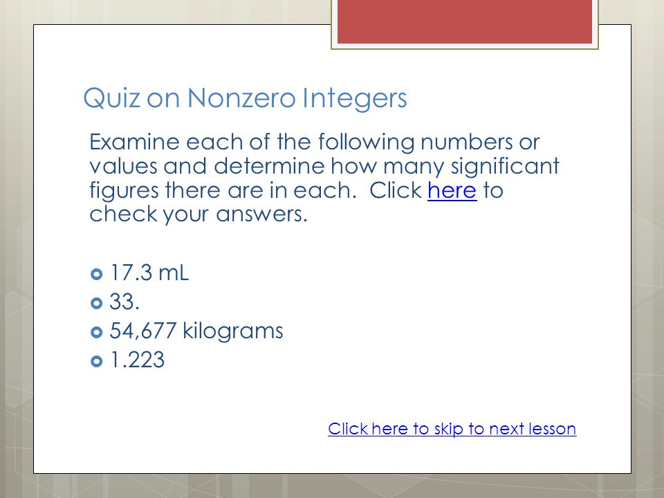 Quiz on Nonzero Integers
