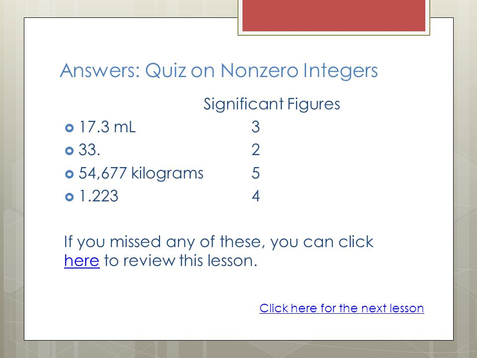 Answers: Quiz on Nonzero Integers