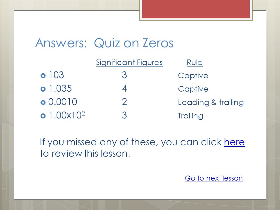 Answers: Quiz on Zeros 103 3 Captive 1.035 4 Captive
