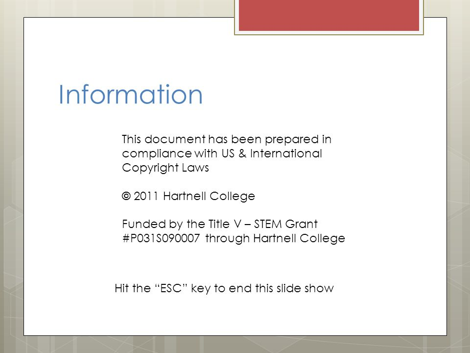 Information This document has been prepared in compliance with US & International. Copyright Laws.