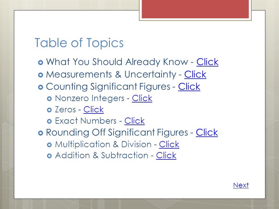 Table of Topics What You Should Already Know - Click