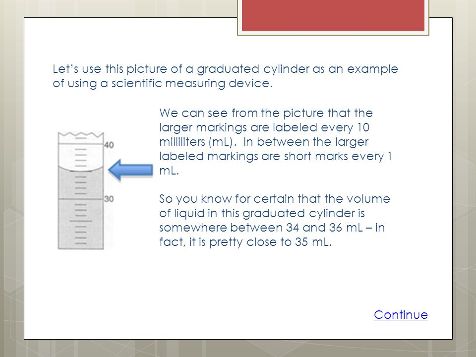 Let's use this picture of a graduated cylinder as an example of using a scientific measuring device.