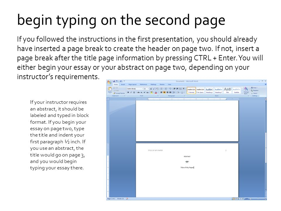begin typing on the second page