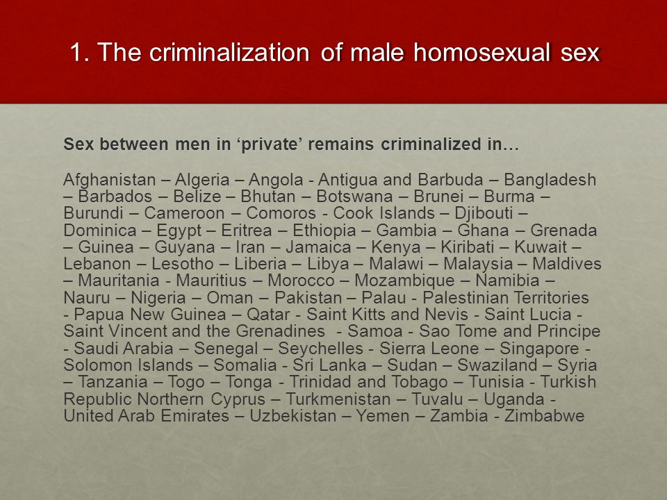 1. The criminalization of male homosexual sex