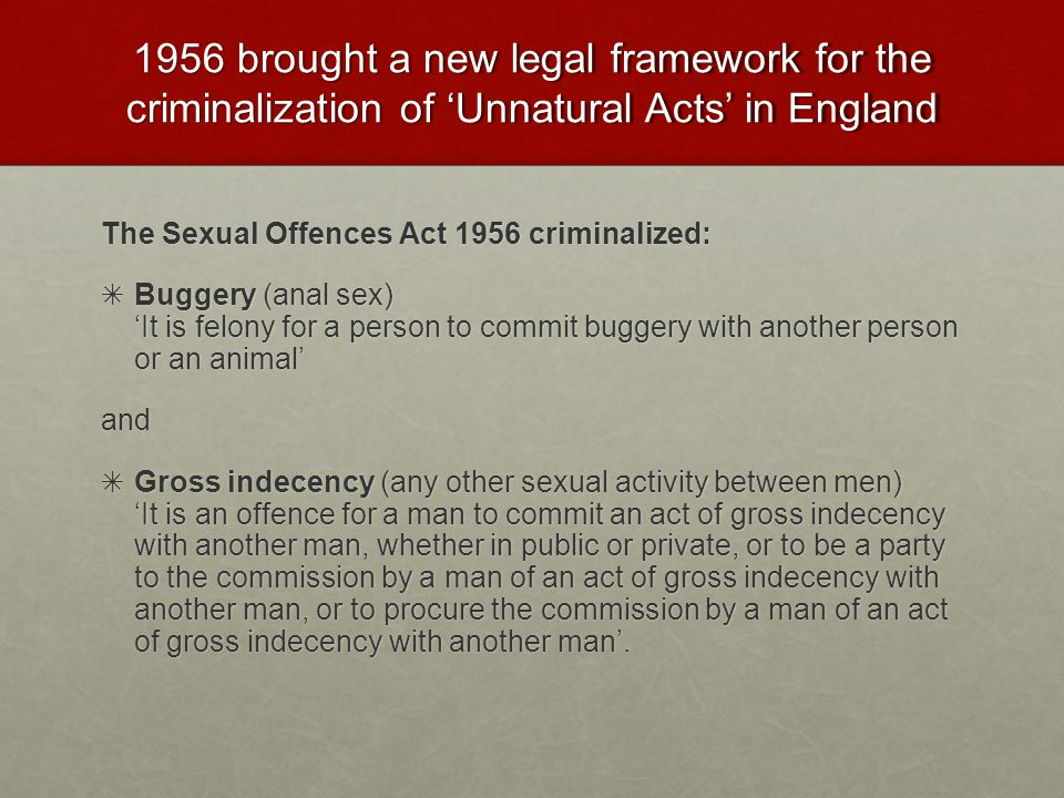 1956 brought a new legal framework for the criminalization of 'Unnatural Acts' in England