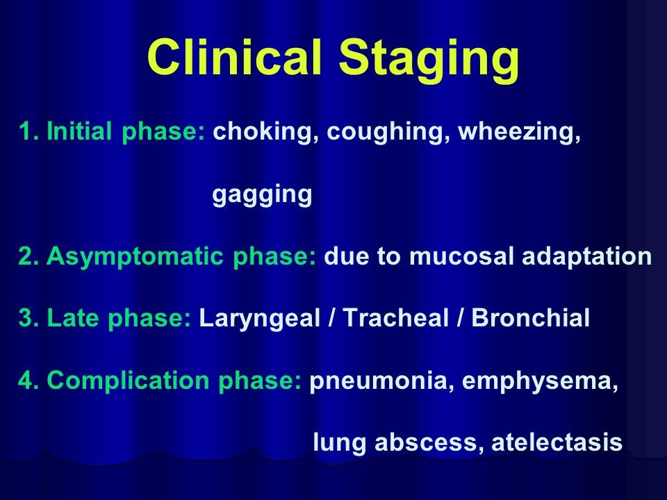Clinical Staging 1. Initial phase: choking, coughing, wheezing,