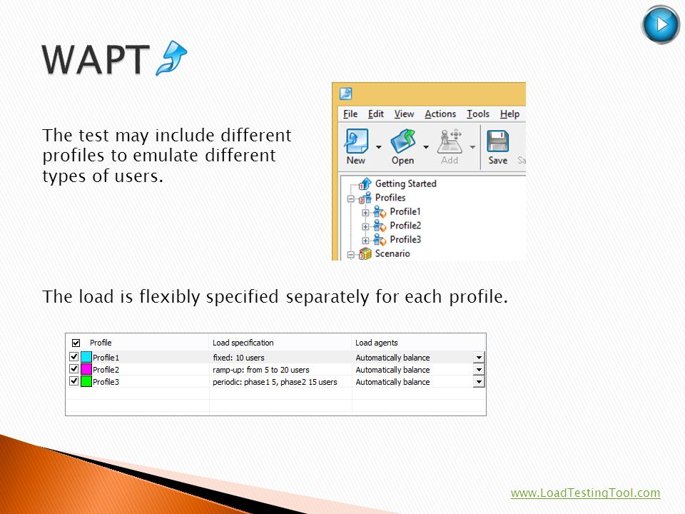 WAPT The test may include different profiles to emulate different types of users. The load is flexibly specified separately for each profile.