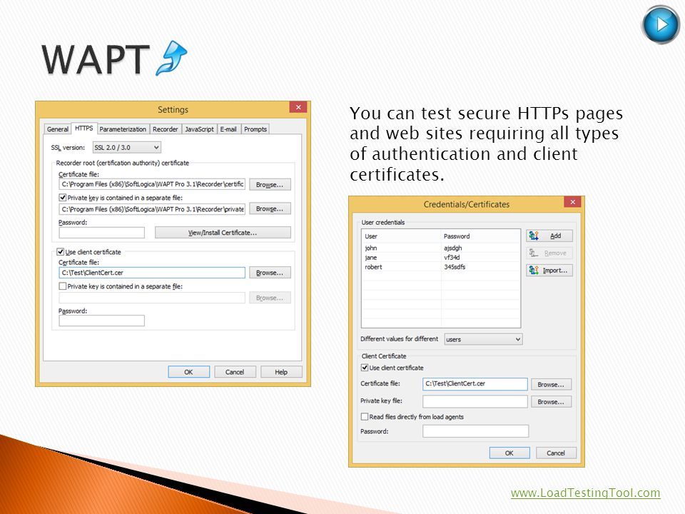 WAPT You can test secure HTTPs pages and web sites requiring all types of authentication and client certificates.
